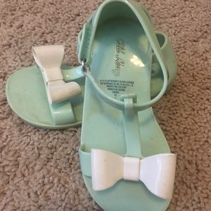 Mint green and white sandals
